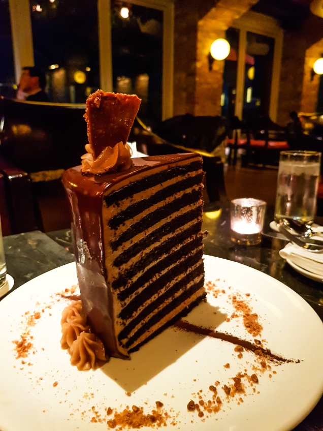 "20 Layer chocolate cake at ""Lavo"" on top of the Marina Bay Sands hotel"
