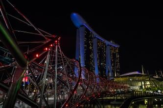 Helix bridge and Marina Bay Sands at night