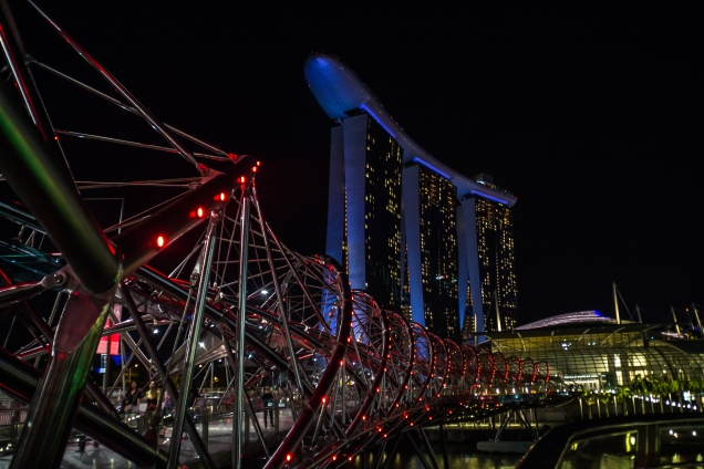 Helix bridge and Marina Bay Sands at night